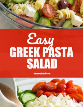 A bowl of the best Greek Pasta Salad with cucumbers, cheese, pasta and tomatoes