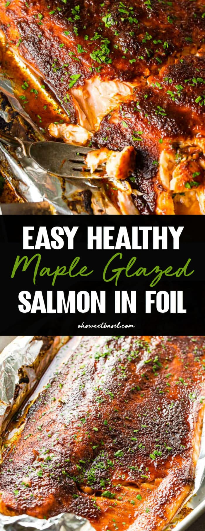 maple glazed salmon in foil with a fork taking a bite