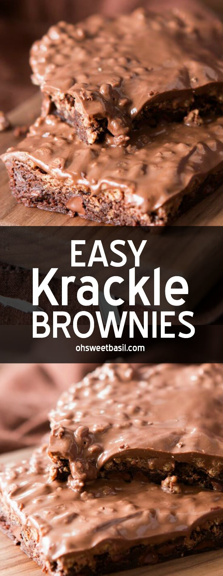 A stack of quick and easy krackle brownies