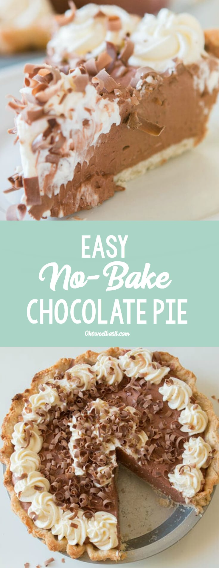 A piece of the best homemade chocolate pie with whipped cream and chocolate shavings on top