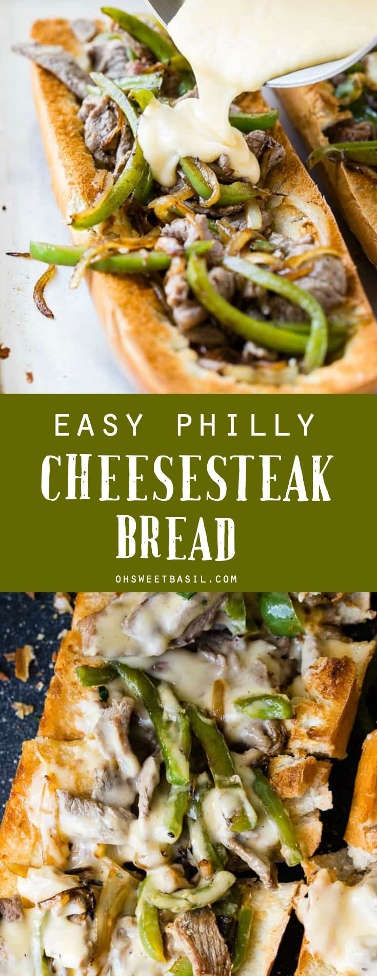 a french bread sliced open and filled with peppers, onions, steak and cheese sauce to make an easy philly cheesesteak recipe!