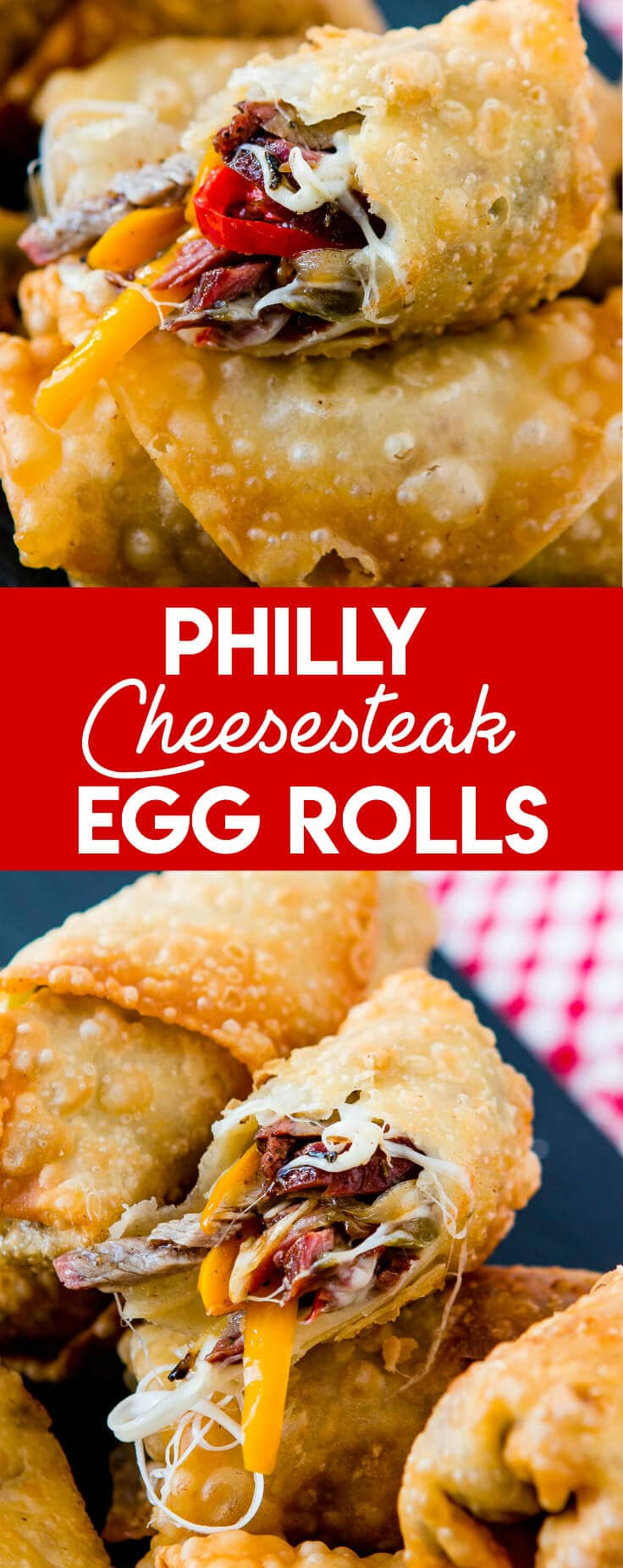 Who wouldn't love a crisp, fried egg roll full of meat and cheese? These Philly Cheesesteak Egg Rolls are perfect for football games and parties!
