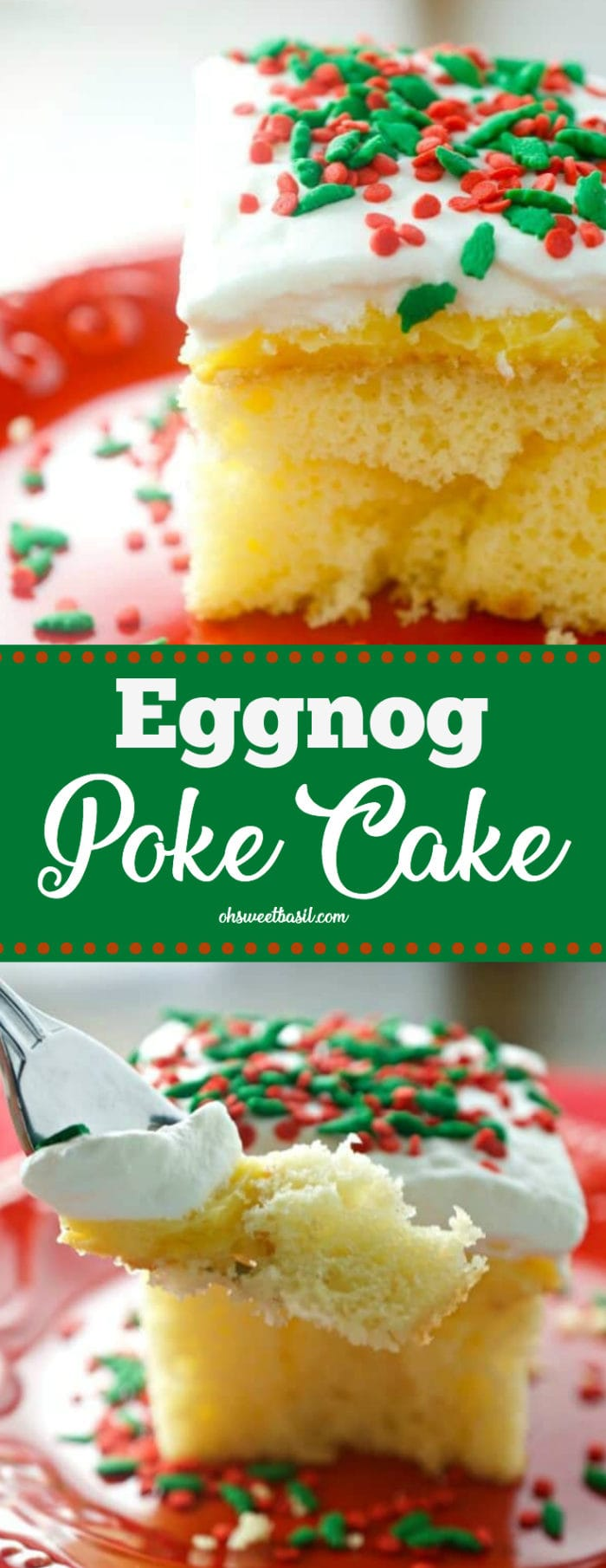 A piece of the easy and festive Eggnog Poke Cake