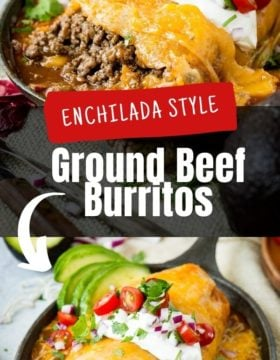 An enchilada style ground beef burrito with melted cheese and sour cream on top