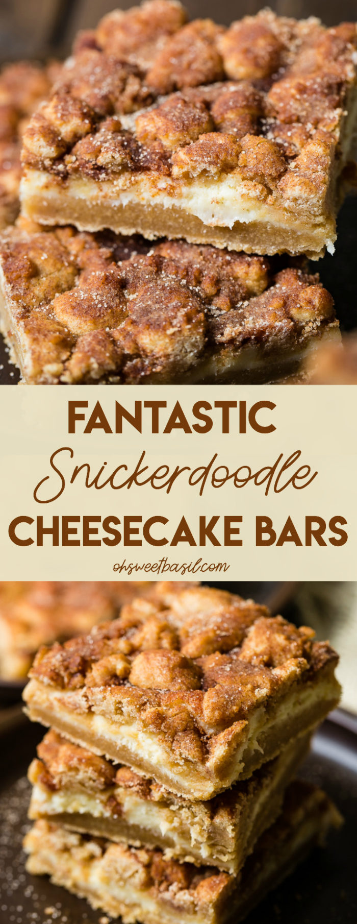 Snickerdoodle cookies are used as the crust and topping with creamy cheesecake in the middle and covered in cinnamon sugar. Fantastic Snickerdoodle cheesecake bars are amazing!