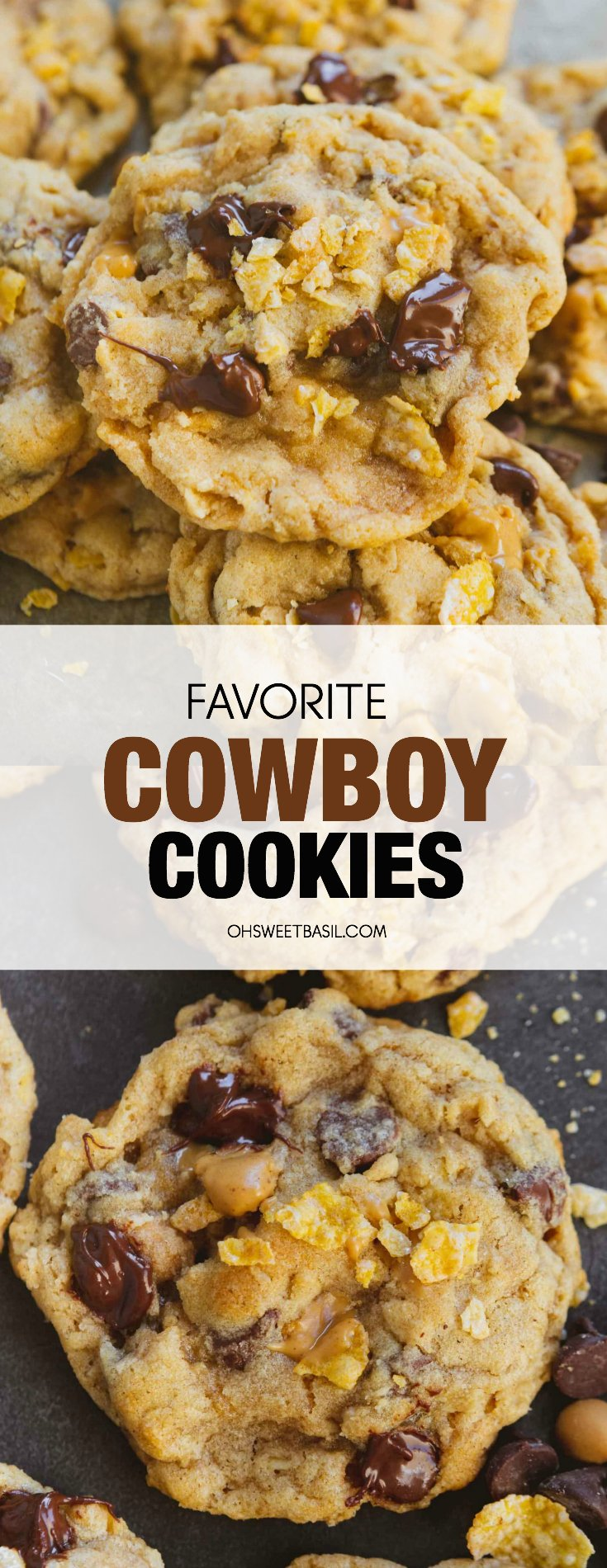 a stack of cowboy cookies with melty chocolate and peanut butter chips.