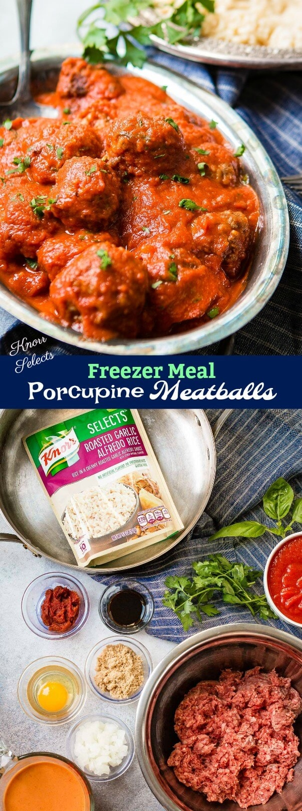 These easy porcupine meatballs are one of our favorite freezer meals to prep ahead of time! Bonus: they're coated in a creamy tomato sauce for serving.