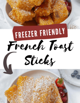 A stack of French Toast Sticks that are baked to a golden brown. they are sprinkled with powdered sugar and syrup is being poured over the top. Sliced strawberries are around the toast.