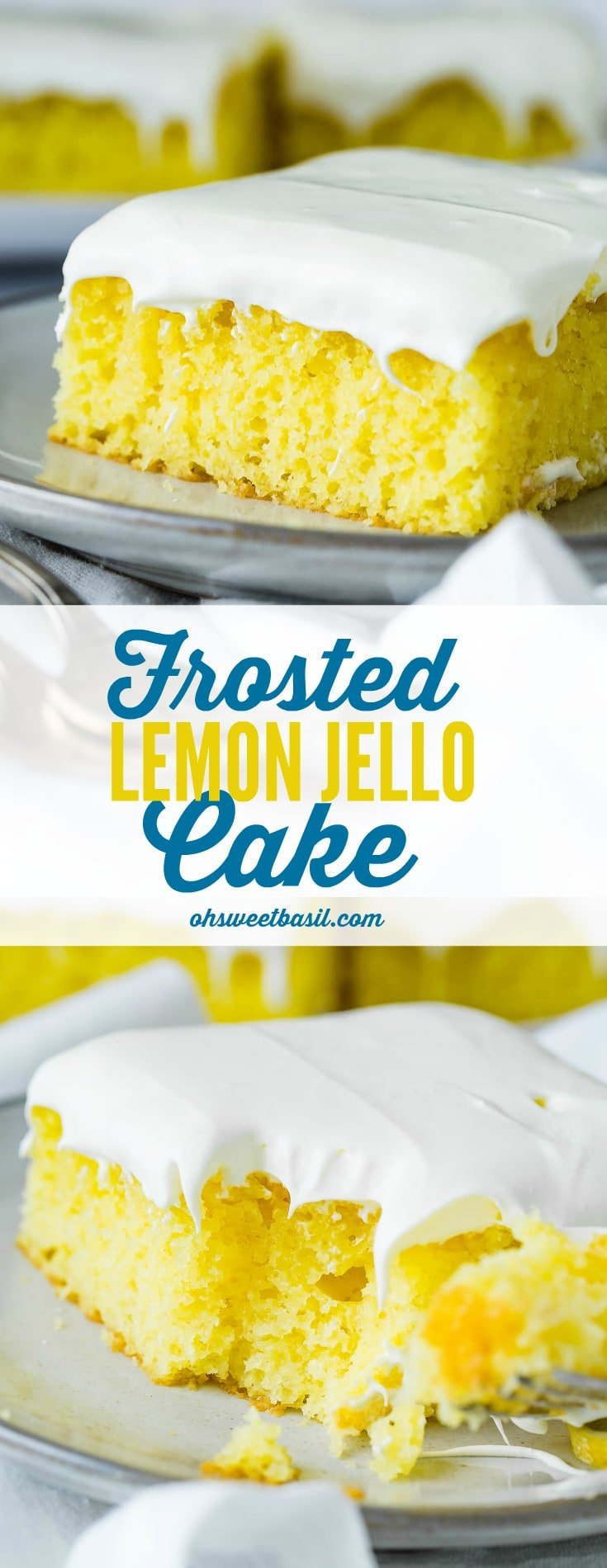 A slice of frosted lemon jello cake with two round slices of lemon on a serving plate. There is a plate containing more slices in the background and white linen napkins under the plates.
