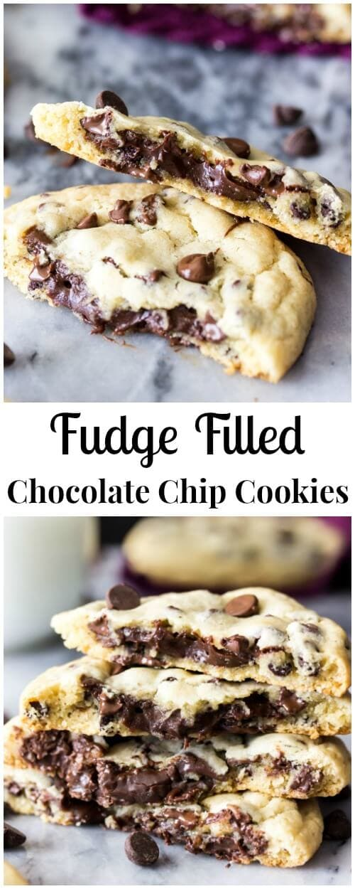 These fudge filled chocolate chip cookies are simple, classic chocolate chip cookies with a decadent chocolate fudge filling on the inside! These surprise-inside cookies are sure to be a new favorite!