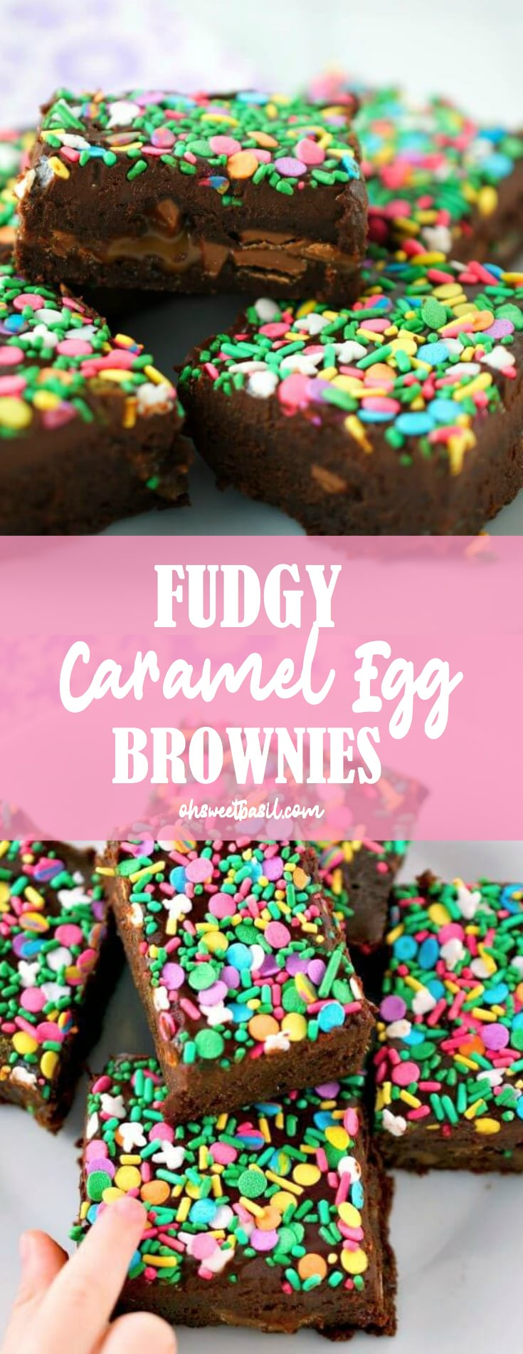Fudgy Caramel Egg Brownies loaded with caramel filled eggs and topped with dark chocolate ganache.