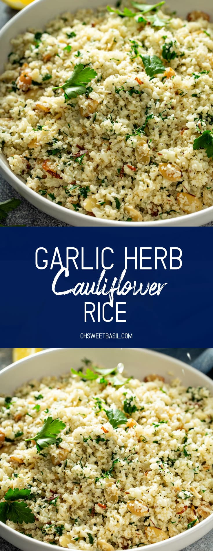 A serving bowl filled with garlic herb cauliflower rice. You can see the green herbs in the rice and there is a wooden spoon filled with cauliflower rice resting in the bowl.