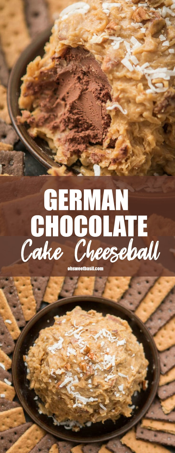 A German Chocolate Cake Cheeseball with shredded coconut on top