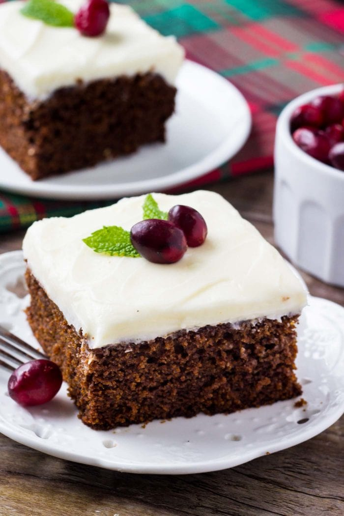 two slices of Gingerbread Cake on white plates