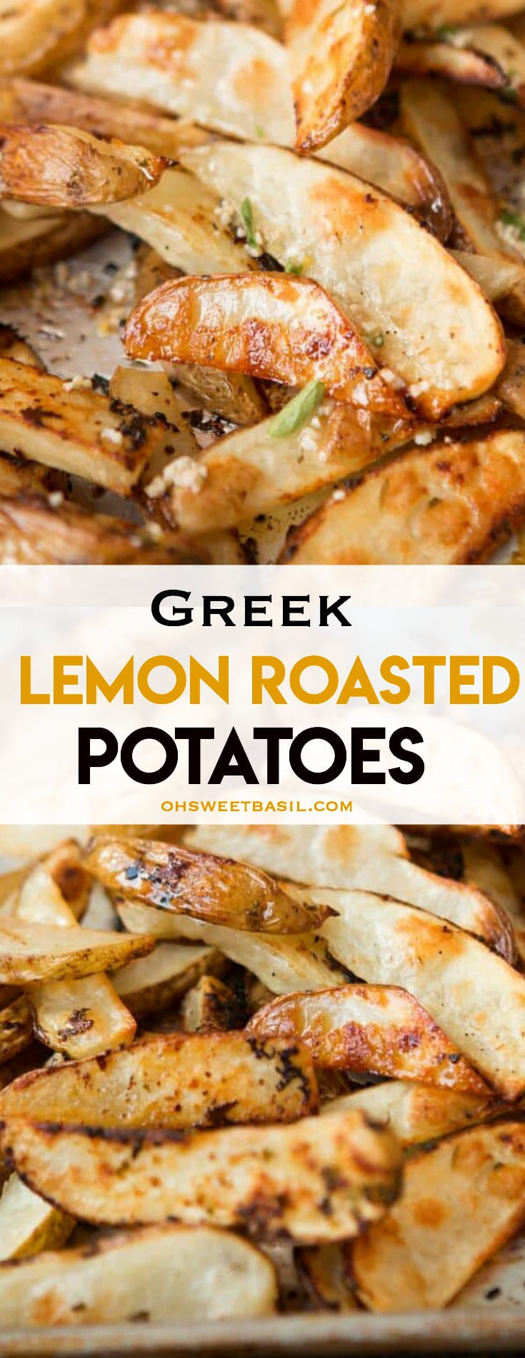 Greek lemon roasted potatoes on a sheet pan