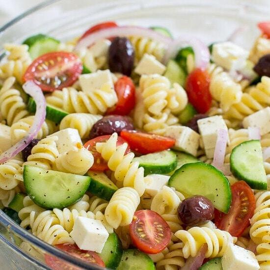 Easy Greek Pasta Salad [+ Video]