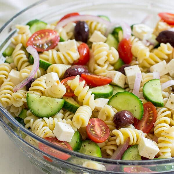 Easy Greek Pasta Salad Video Oh Sweet Basil