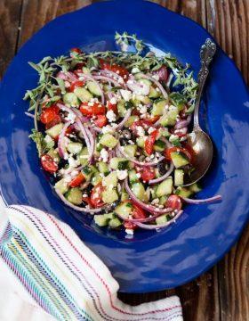 Greek Salad with Feta ohsweetbasil.com
