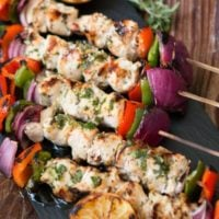 Greek Chicken Souvlaki is the easiest most flavorful chicken on the grill! ohsweetbasil.com