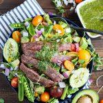 grilled flank steak summer salad cilantro lime vinaigrette