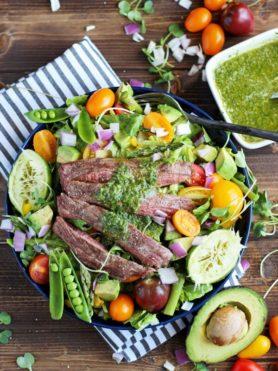 Grilled Flank Steak Summer Salad + Cilantro Lime Vinaigrette. The perfect summer salad for entertaining!