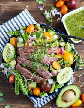 Grilled Flank Steak Summer Salad + Cilantro Lime Vinaigrette. The perfect summer salad for entertaining!