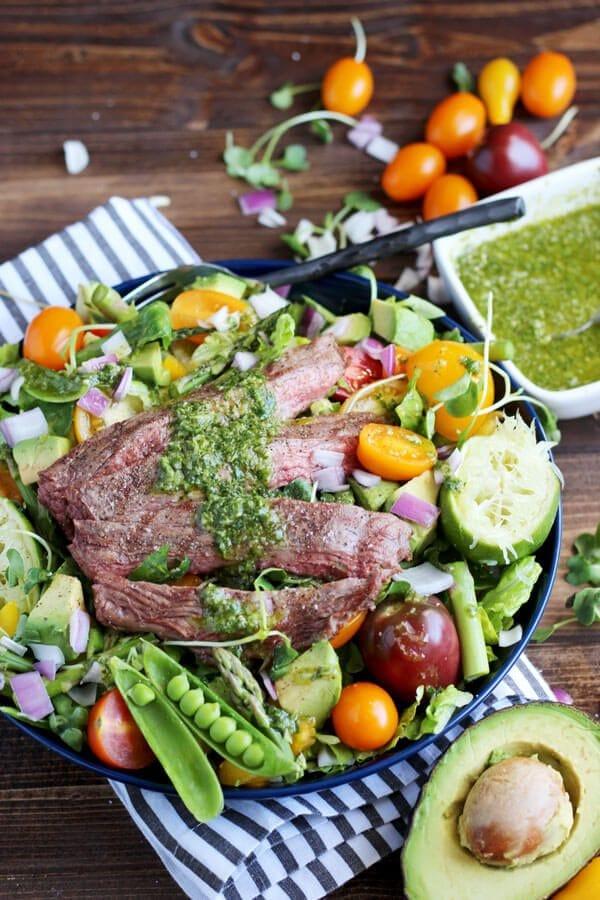 Grilled Flank Steak Summer Salad + Cilantro Lime Vinaigrette
