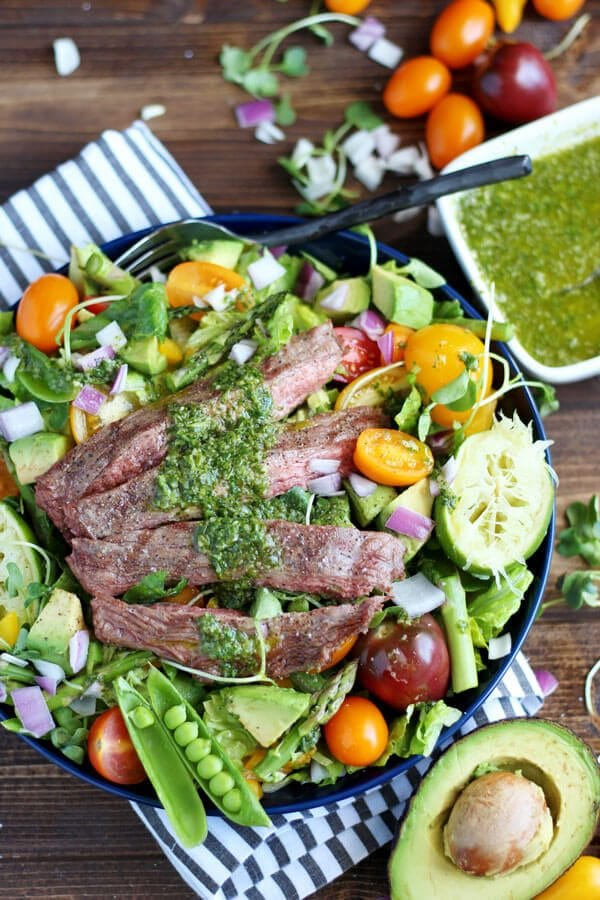Grilled Flank Steak Summer Salad + Cilantro Lime Vinaigrette.