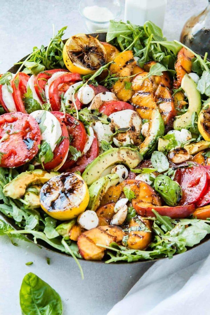 Grilled Peach Avocado Caprese Salad