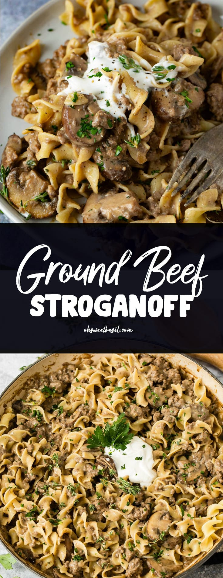 ground beef stroganoff in a serving bowl. There are noodles, and ground beef in a sauce, with a spoonful of sour cream on top.