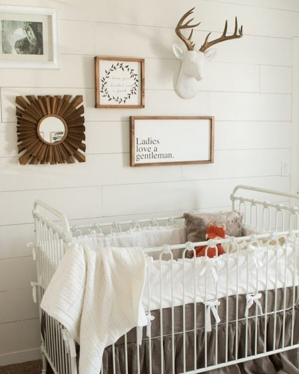 A photo of the crib in our baby room.