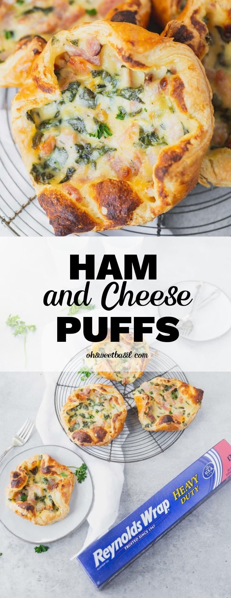 a photo of three ham and cheese puffs on a circular cooling rack and one ham and cheese puff on a white plate all sitting next to a box of Reyolds Wrap Heavy Duty foil
