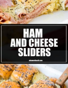 Ham and Cheese Sliders drizzled with poppy seed dressing