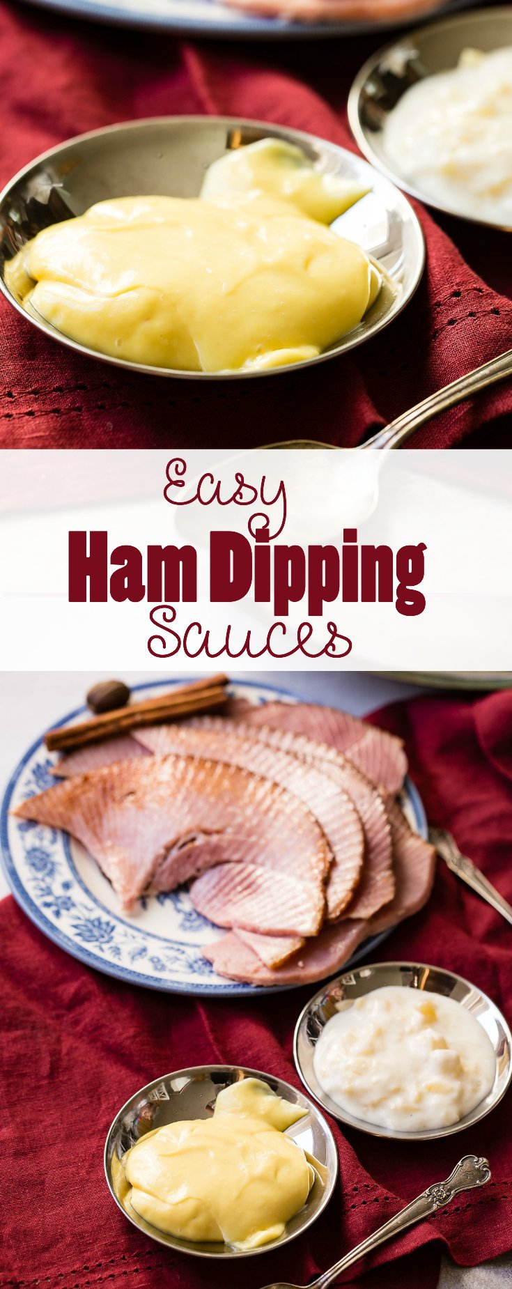 These are the best easy ham dipping sauces that I've ever had. A sweet honey mustard and pina colada sauce that will have your guests raving about the food.