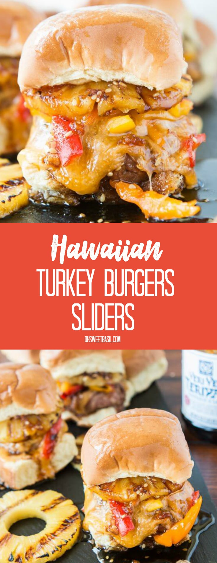 Hawaiian Turkey Burger Sliders with grilled pineapple, melted cheese, turkey and soy sauce