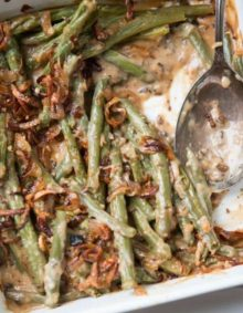 We all grew up on green bean casserole with cream of mushroom soup, but it's time to kick things up with Heritage Green Bean Casserole with Crispy Shallots.