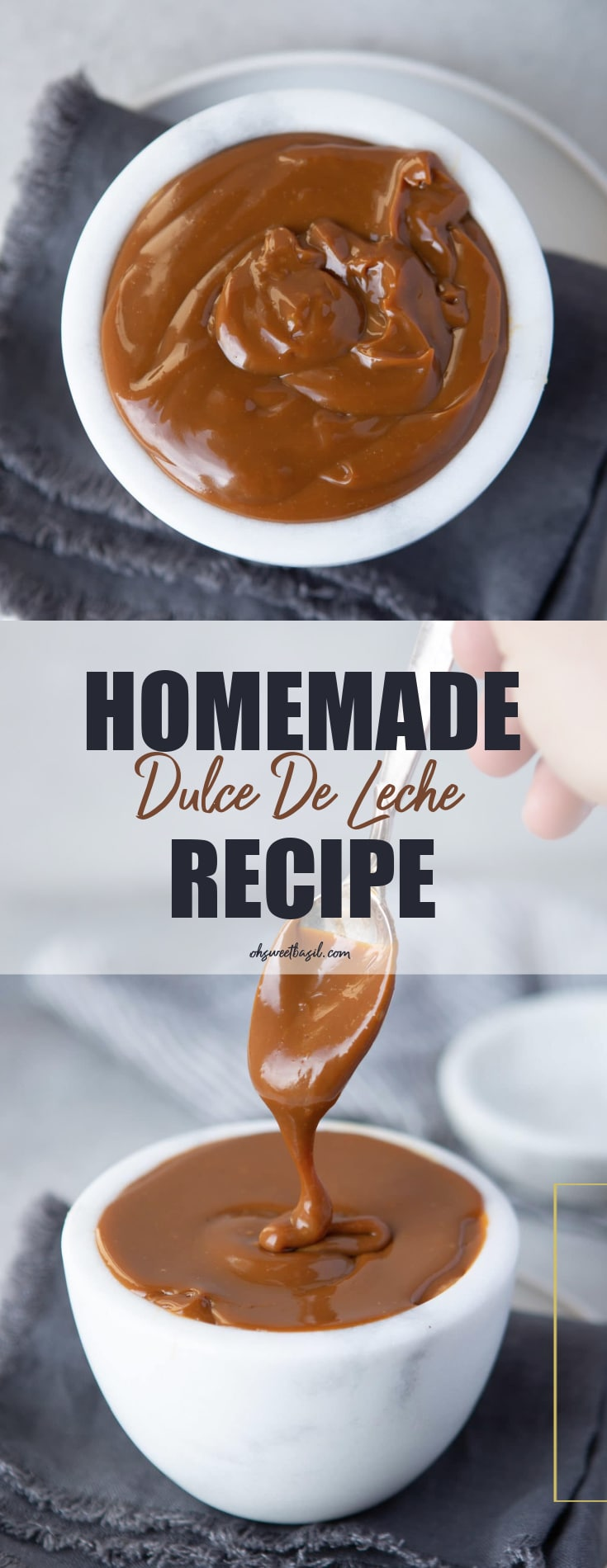 a photo of a white cup full of dulce de leche with a spoon being pulled out of the cup drizzling dulce de leche