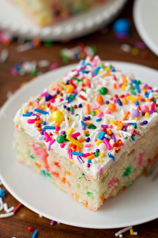 Homemade Funfetti Cake ohsweetbasil.com sprinkles, party, birthday