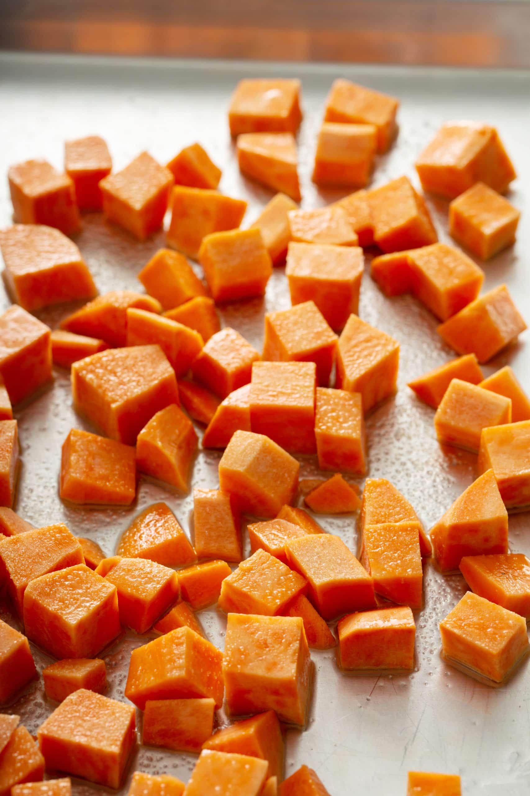 Cubed sweet potatoes.