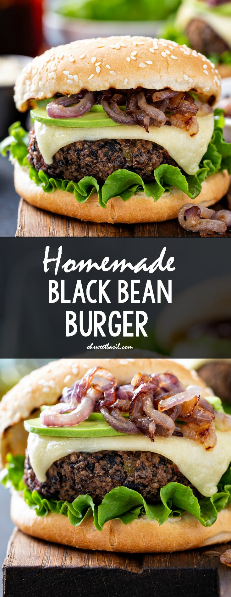 A black bean burger on a sesame seed bun. It is dressed with onions, cheese and lettuce.