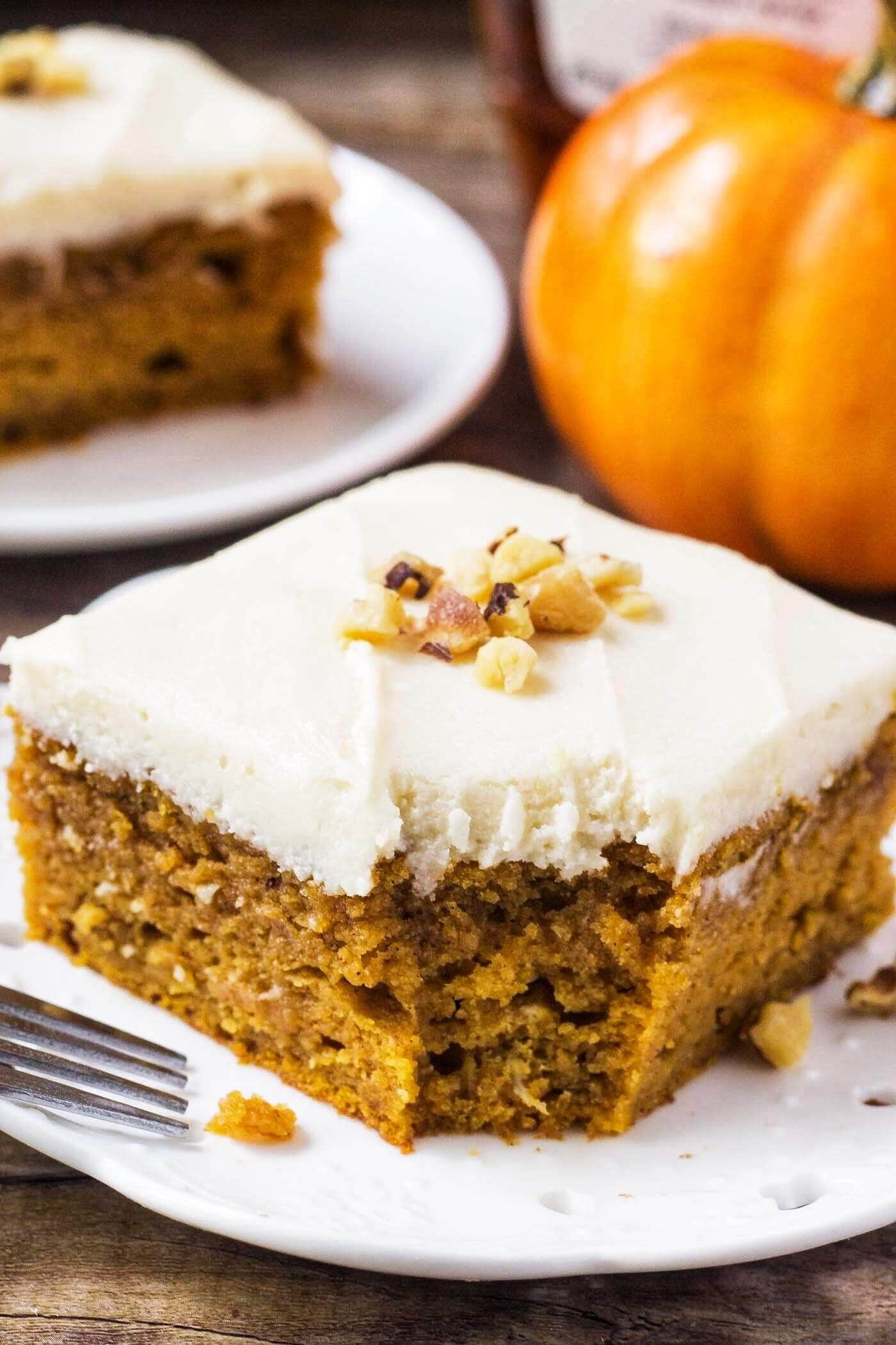 Pumpkin Cake With Maple Frosting Oh Sweet Basil