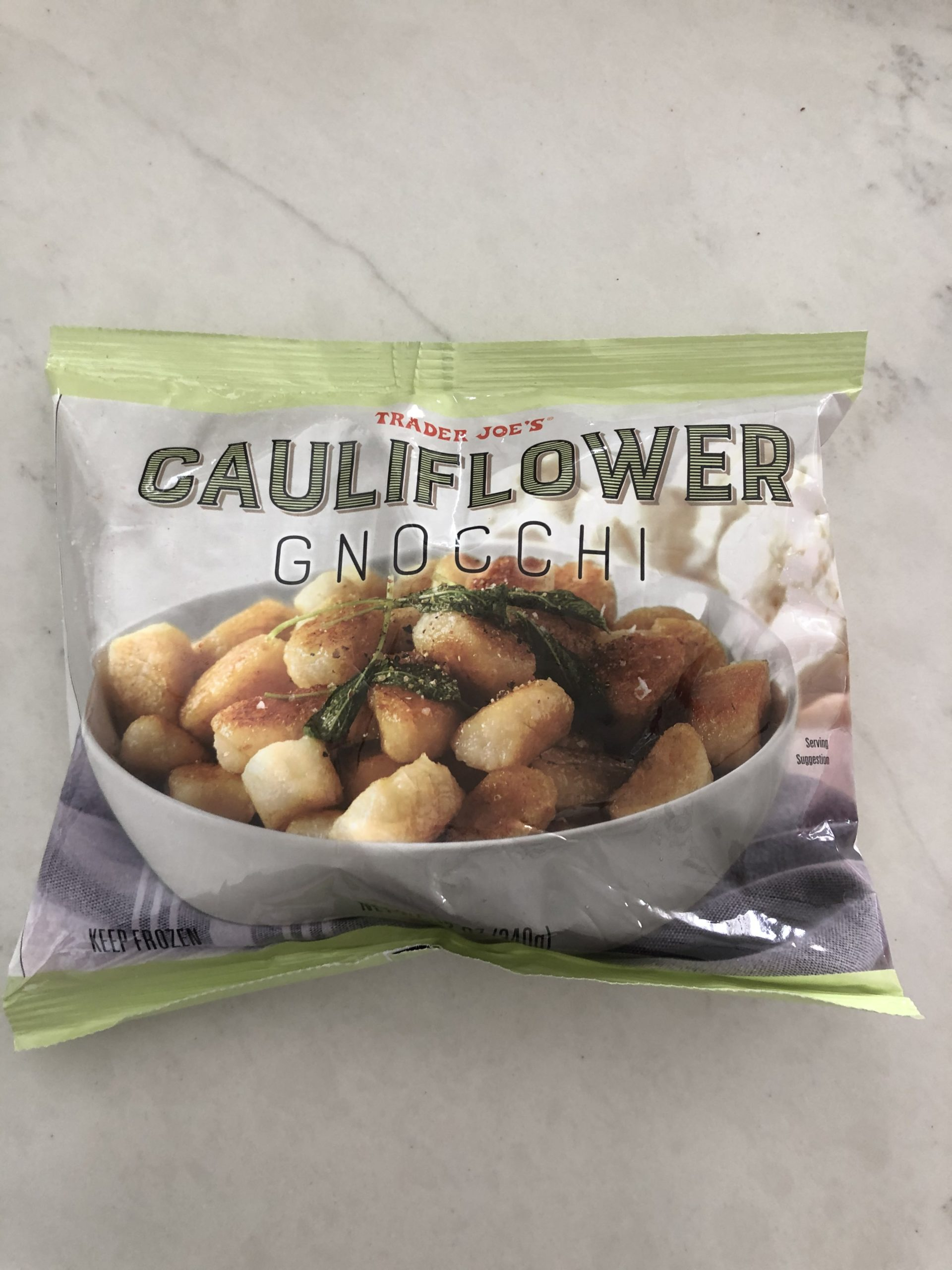 a bag of frozen cauliflower gnocchi by trader joes