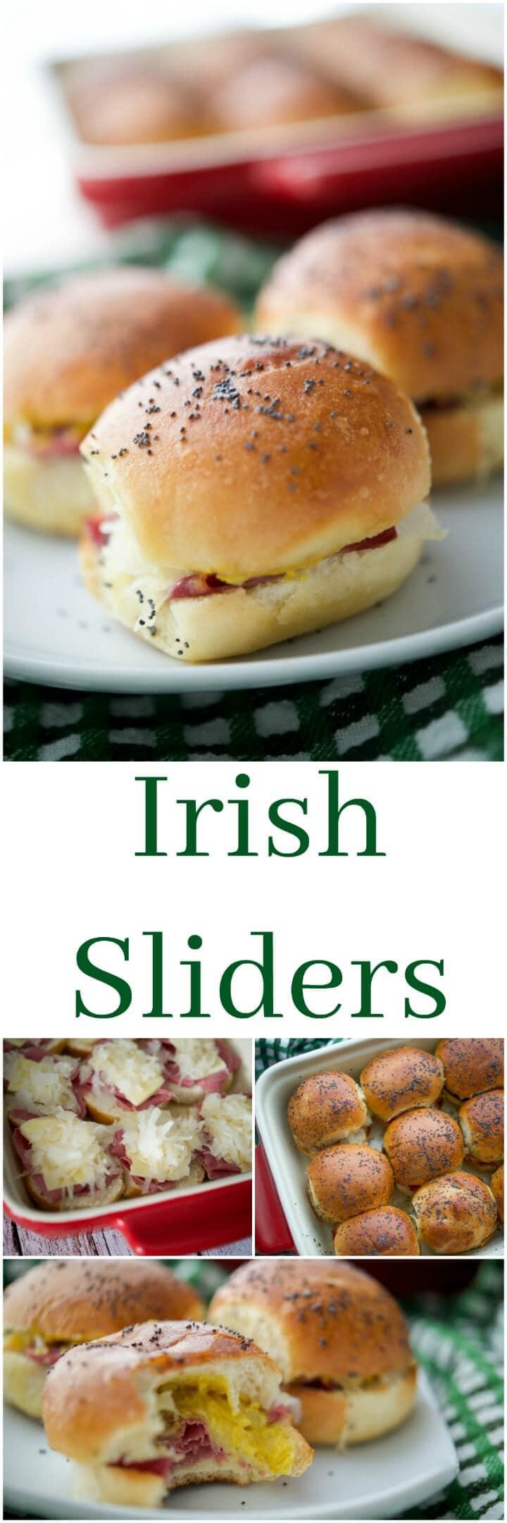 These Cheesy Irish Sliders made with corned beef, Dubliner Irish cheese, sauerkraut & Irish mustard on potato slider rolls are a must have!