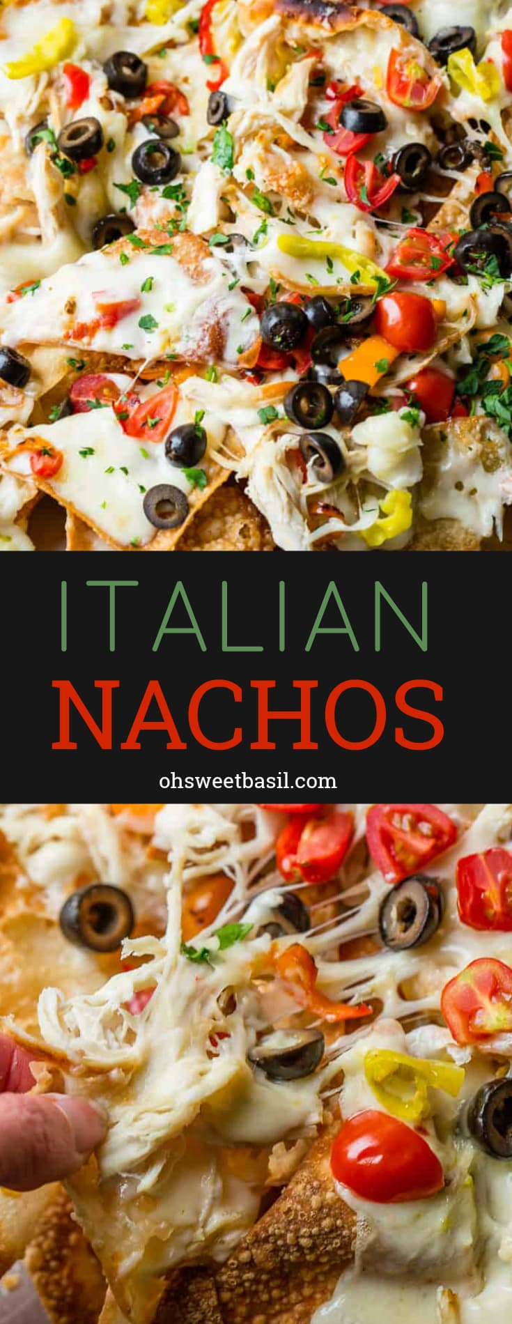 Fried wontons covered in alfredo sauce, cheese, chicken, peppers and olives for the perfect Italian Nachos