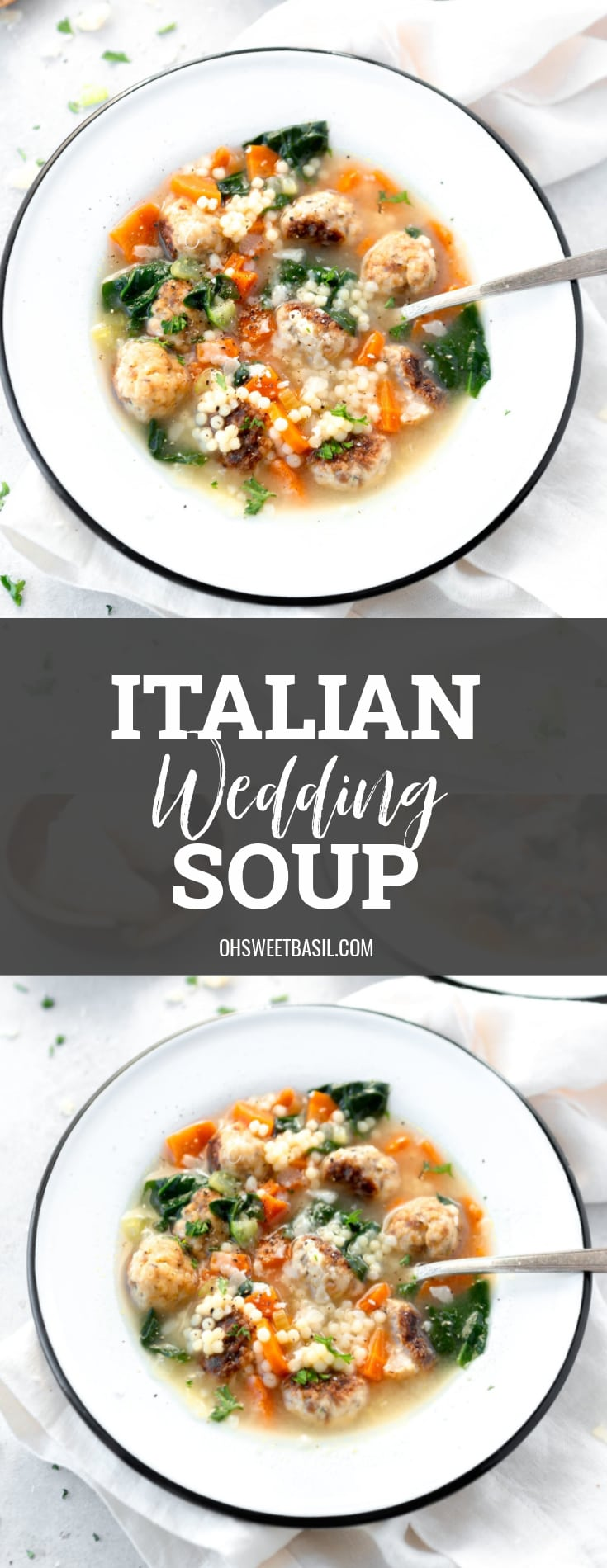 A bowl of Italian wedding soup. A spoon is in the soup and it is packed with meatballs, carrots and spinach.