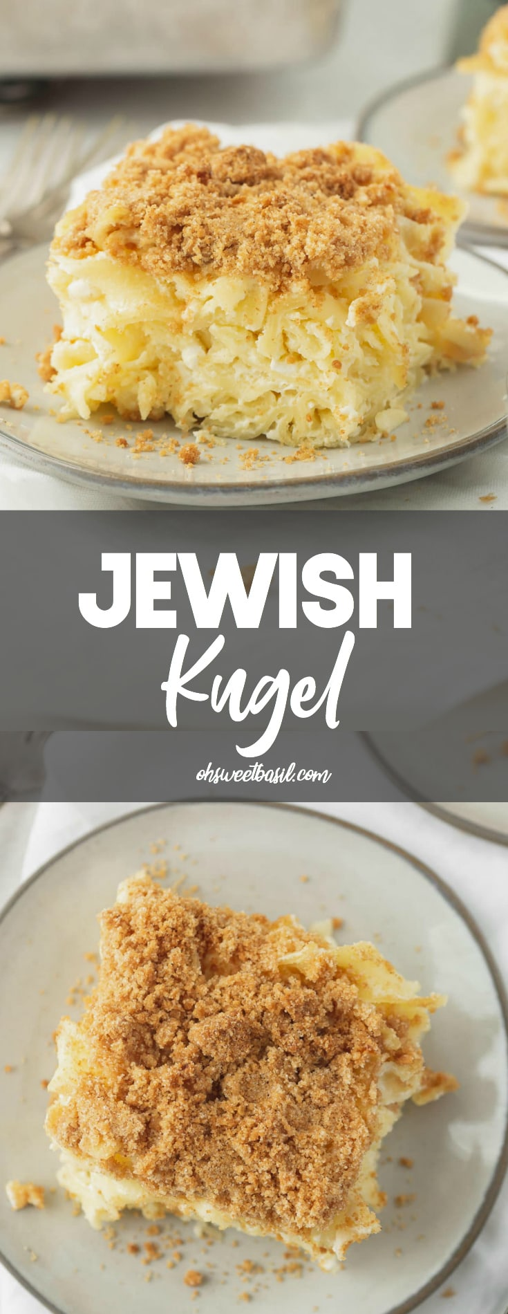 A serving of Jewish Kugel on a small white plate. There are noodles in a creamy sauce and a graham cracker crumb topping. A casserole pan and another serving of kugel are in the background.