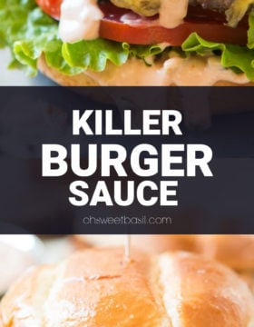 A burger with all of the fixings and killer burger sauce on top
