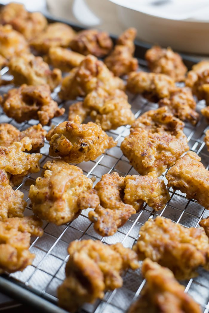 Korean Style Fried Chicken coated in a crispy, crunchy batter and deep-fried to a golden perfection.