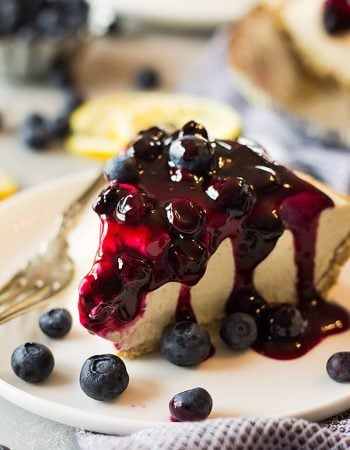 This creamy, light and fluffy Lemon Blueberry No Bake Cheesecake is the perfect springtime dessert!