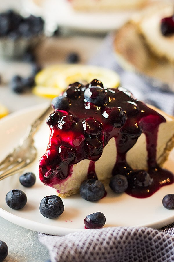 This creamy, light and fluffy Lemon Blueberry No Bake Cheesecake recipe is the perfect springtime dessert and hooray for not turning on the oven!